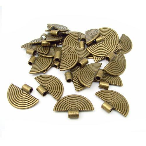 10 breloques pendentifs en métal couleur bronze 25mm
