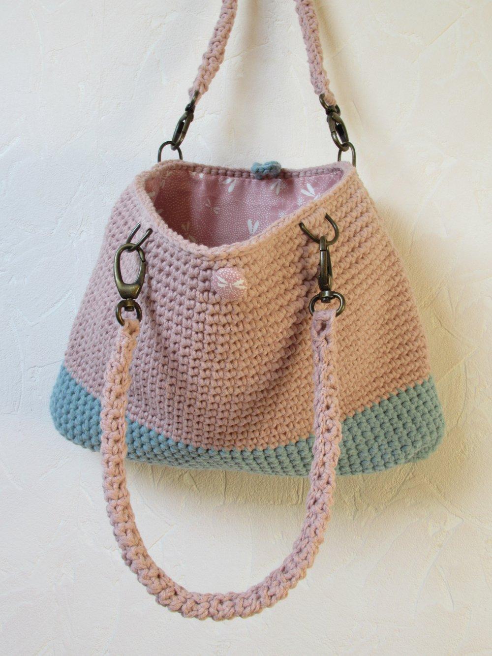 sac a main rose des sables et vert de gris