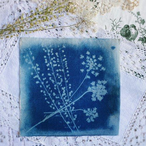 Cyanotype motif floral