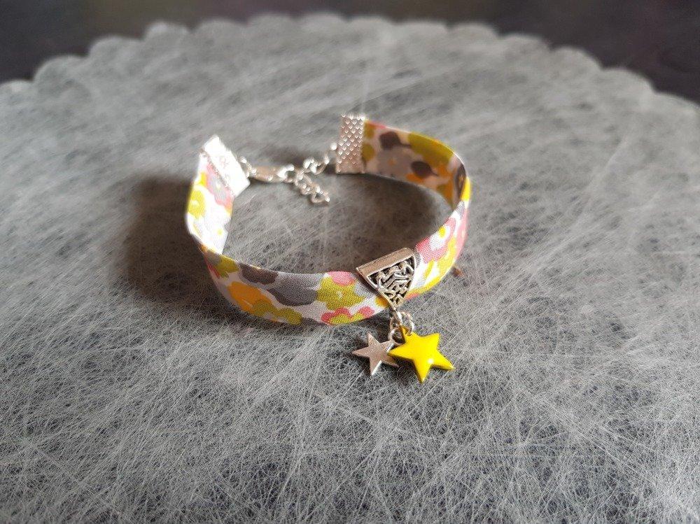 "Bracelet ""Collection Star"" et son tissu Liberty ""Fleuri"" Ton jaune, vert et orange"