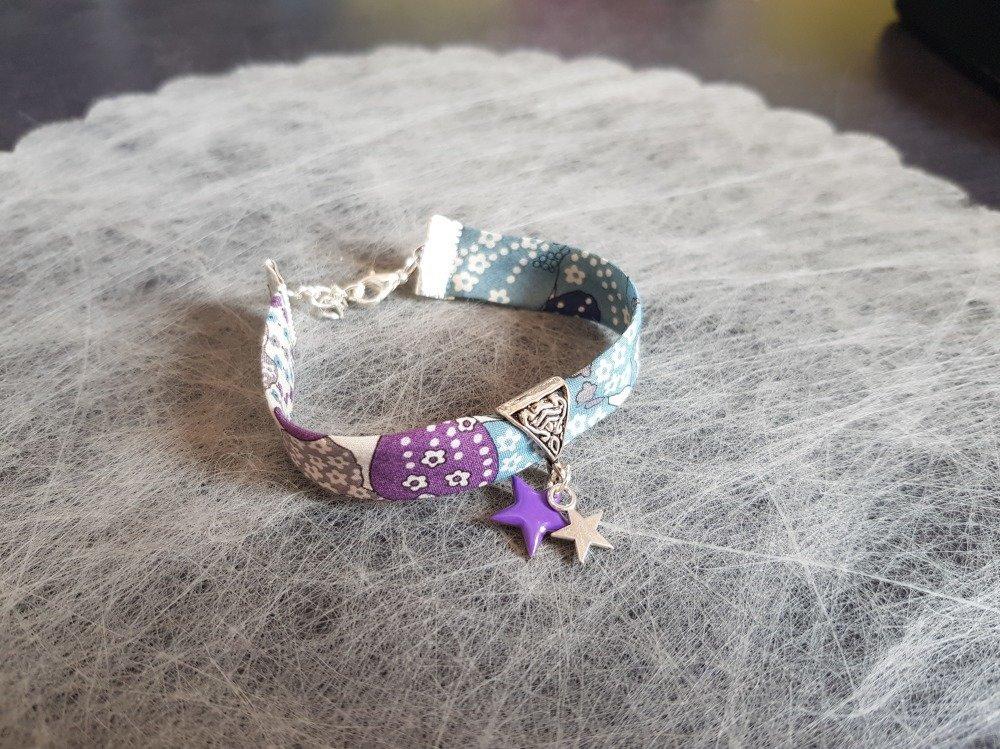 """Bracelet """"Collection Star"""" et son tissu Liberty """"Fleuri"""" Ton violet et bleu"""