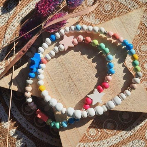 Collier bohème perles bois couleurs pastel
