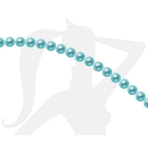 50 x perles rondes 4mm verre nacré - aigue marine - 437