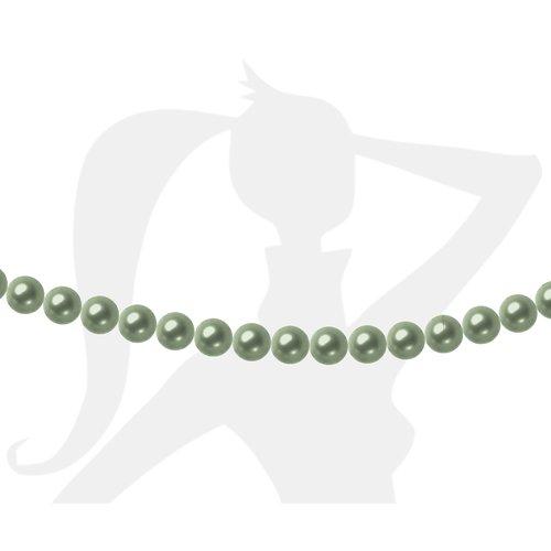 50 x perles rondes 4mm verre nacré - vert lichen - 455
