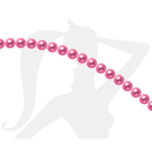 25 x perles rondes 6mm verre nacré - rose fuchsia - 0241