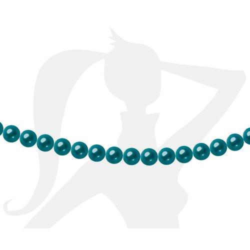 25 x perles rondes 6mm verre nacré - bleu canard - 090