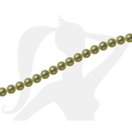 15 x perles rondes 8mm verre nacré - tilleul - 441
