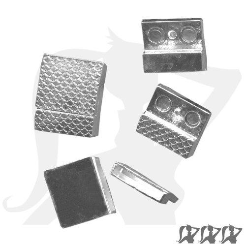 Fermoir magnétique - argenté - rectangulaire en métal décoré pour lanière 18mm
