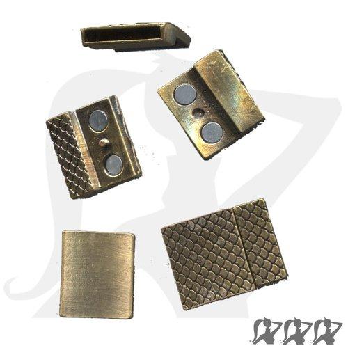 Fermoir magnétique - bronze - rectangulaire en métal décoré pour lanière 18mm