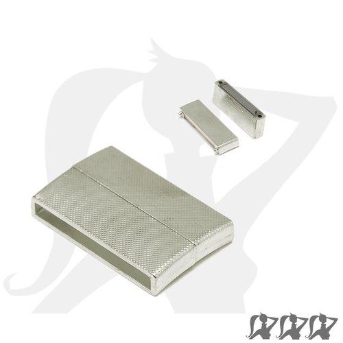 Destockage - fermoir magnétique - argenté - rectangulaire métallique pour lanière 36mm