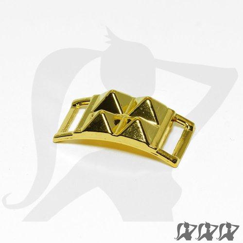 Connecteur boucle - doré - boucle rivets pyramide en métal brillant - cnre26