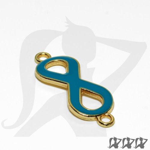 Connecteur symbole infini - métal doré et émail - bleu