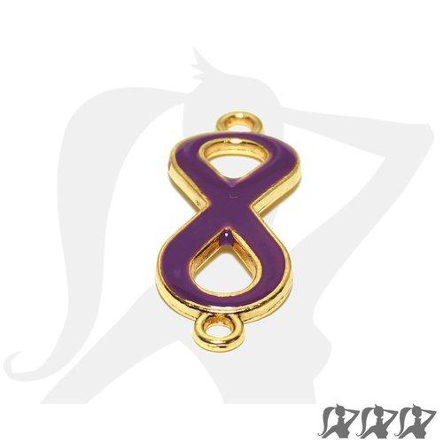 Connecteur symbole infini - métal doré et émail - prune