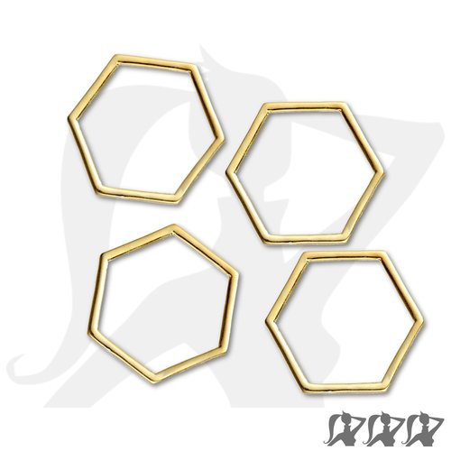 Lot de 4 x connecteurs hexagone fin - doré - 23mm en métal brillant