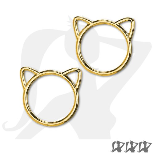Lot de 2 x connecteurs silhouette chat - doré - 24mm en métal brillant