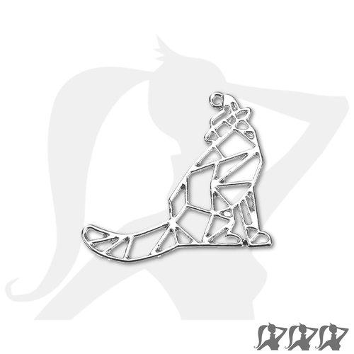 Pendentif breloque origami loup - argenté clair - 34mm en métal brillant