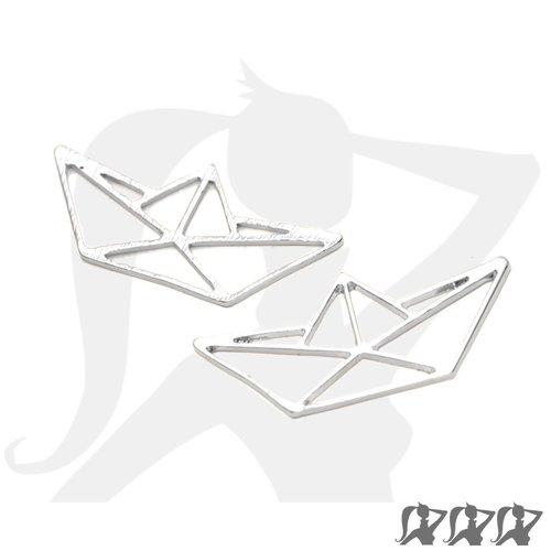 Connecteur breloque pendentif bateau origami - argenté clair - 31mm en métal brillant