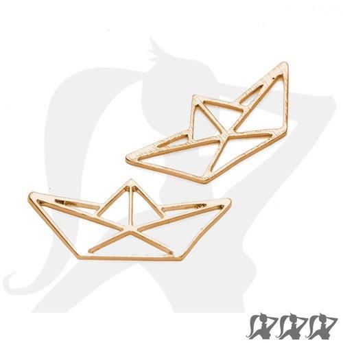 Connecteur breloque pendentif bateau origami - doré - 31mm en métal brillant