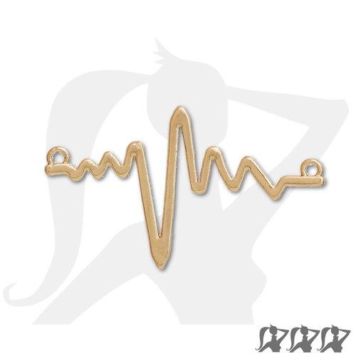Connecteur electrocardiogramme rythme cardiaque ecg - doré - 48mm en métal brillant
