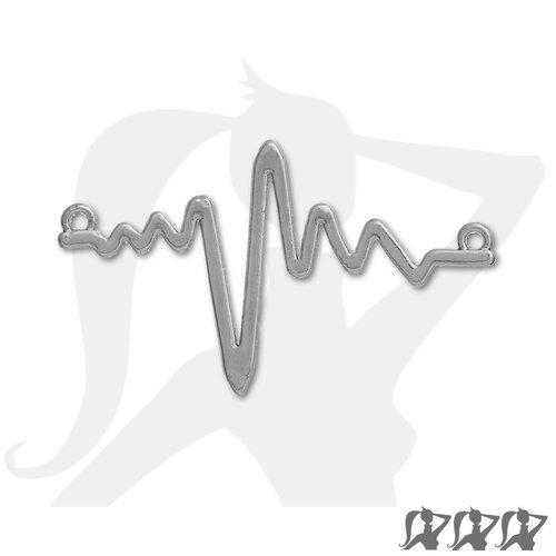 Connecteur electrocardiogramme rythme cardiaque ecg - argenté - 48mm en métal brillant