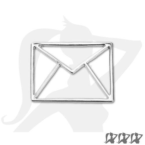 Connecteur enveloppe postale origami - argenté clair - 31mm en métal brillant