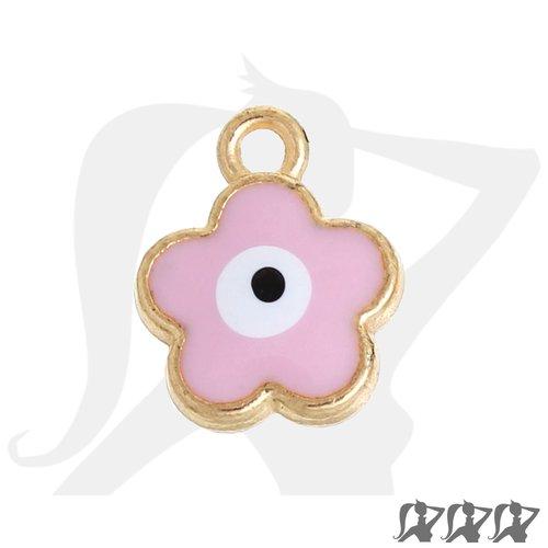 Breloque fleur - doré - rose - 15mm en métal émaillé