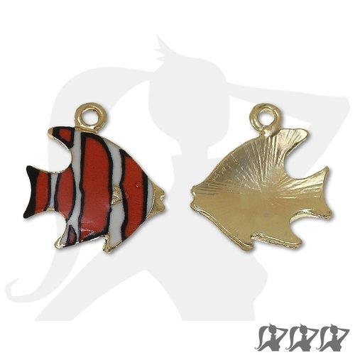 Breloque poisson exotique - orange & noir - 17mm métal doré émaillé