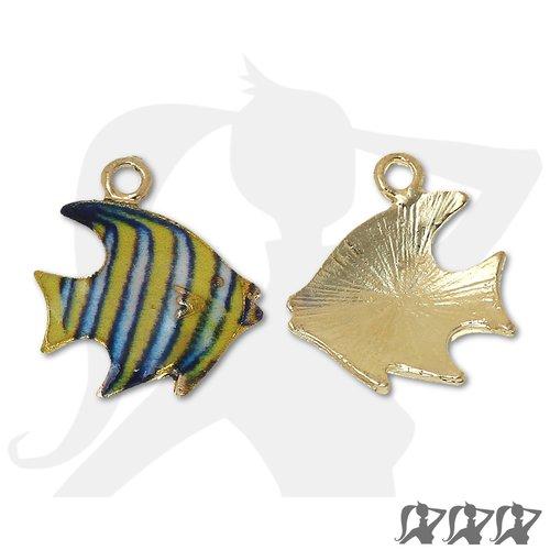Breloque poisson exotique - jaune & bleu - 17mm métal doré émaillé