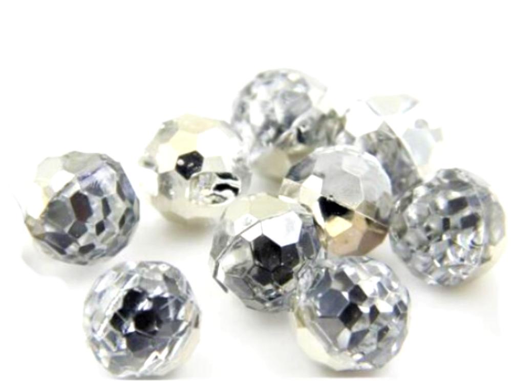 5 boutons boules effet crisral - synthétique - à facettes -  12  mm
