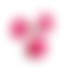 Lot de 3 boutons en forme de fleur rose foncé à coudre - 16 mm - boutons acrylique avec oeil au dos