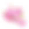 Ruban élastique imprimé fleurs roses - 15 mm - vendu en 50 cm