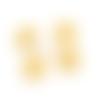 Lot de 5 boutons vichy jaune et blanc - 13 mm  -  boutons fantaisies pour couture ou scrapbooking