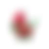 Bouton landau rouge en bois  - 34 x 30 mm - bouton bébé pour couture ou scrapbooking