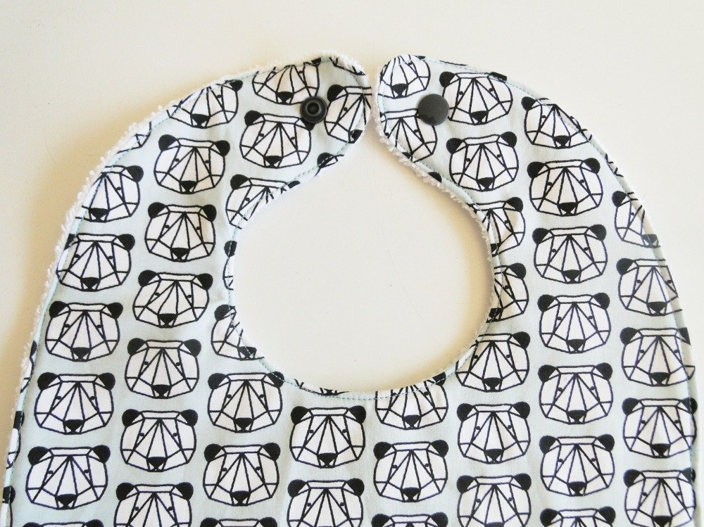 """Grand bavoir """"panda origami"""" personnalisé prénom en coton et éponge 12-24 mois cadeau naissance bébé"""