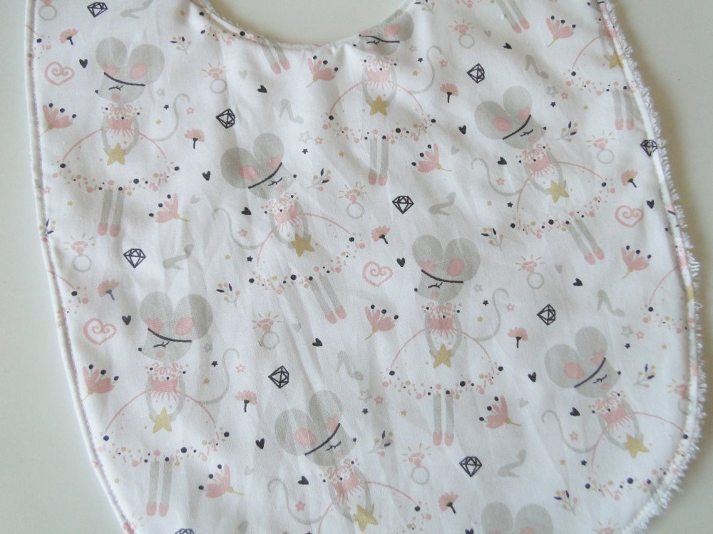 """Grand bavoir """"souris"""" en coton et éponge 12-24 mois"""