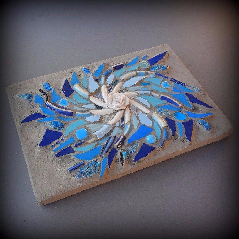 Tableau mosaïque tourbillon turquoise