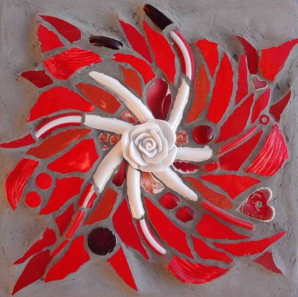 Tableau mosaïque petit tourbillon rouge