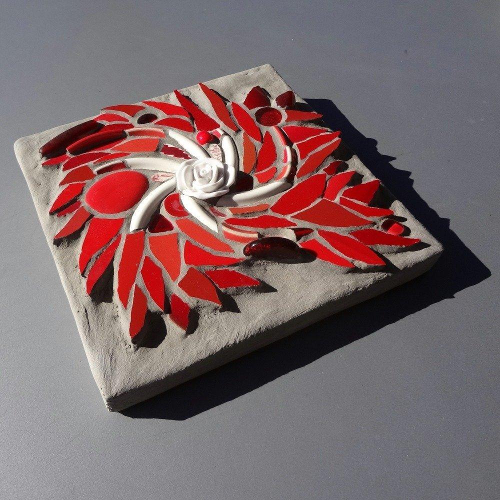 Tableau mosaïque petit tourbillon rouge ardent