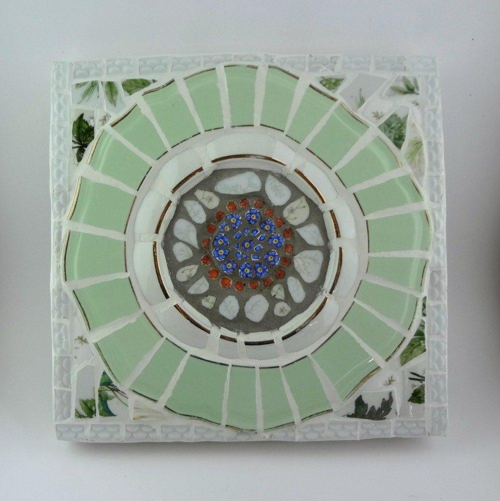 "Mandala ""Bouquet fleuri"" - Tableau mosaïque"