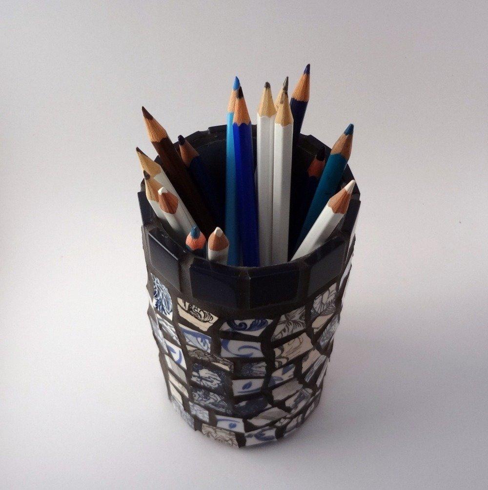 """Pot à crayon """"bleu gris"""""""