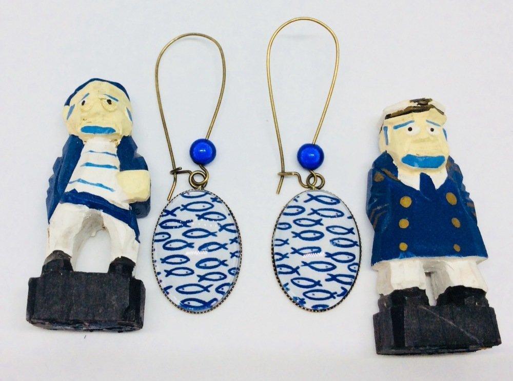Pendantes poissons bleus cabochons