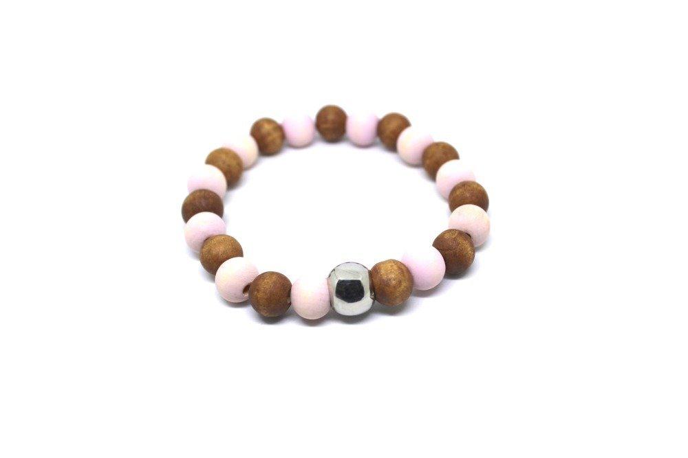 Bracelet homme perles roses