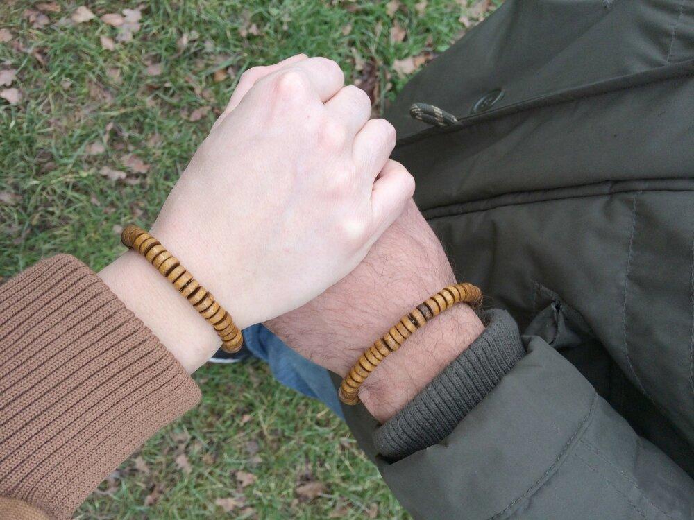 Bracelets couple perles bois