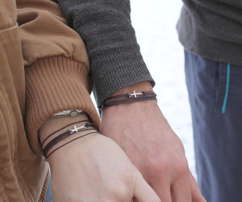 Bracelets couple croix