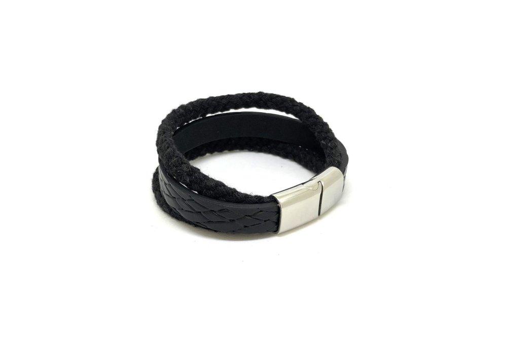 Bracelet homme noir et argent