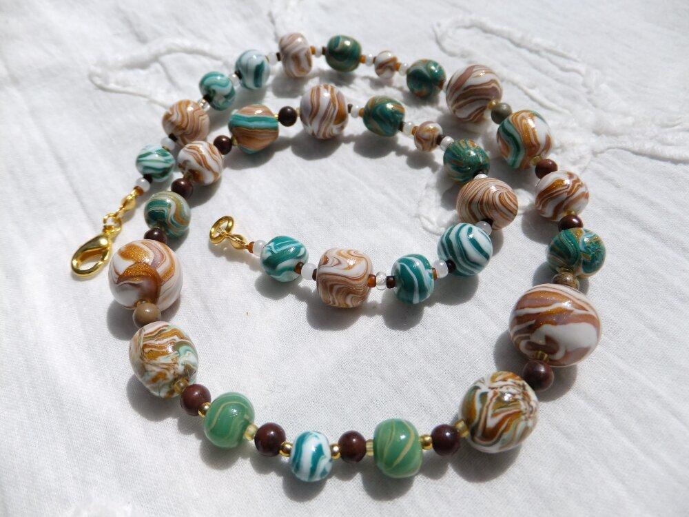 """10. Collier artisanal, perles originales et Jaspe Apache """"Simplicité"""", cadeau de qualité"""