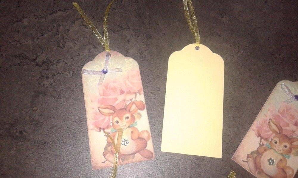 lot de 7 étiquettes cadeaux de pâques, thème lapin
