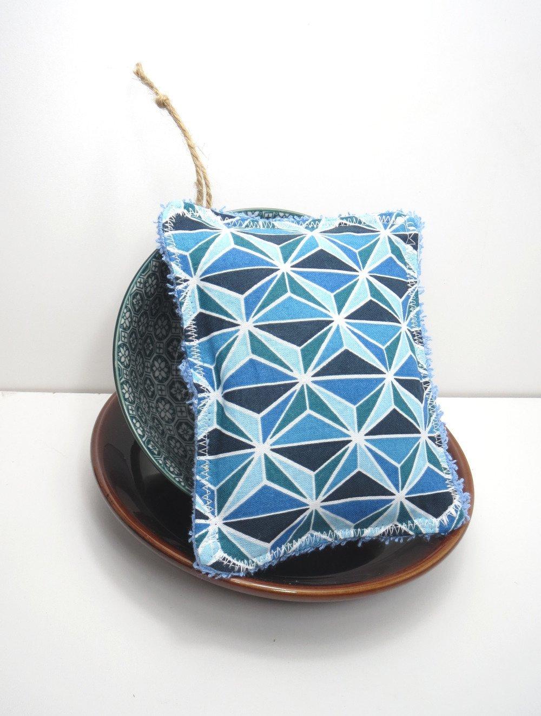 Éponge lavable et réutilisable,zéro déchet,cousu main,bleue,écologique