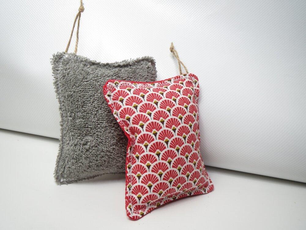 Éponges lavables et réutilisables,zéro déchet,cousu main,,écologique,lot de 2 éponges rouges et grises