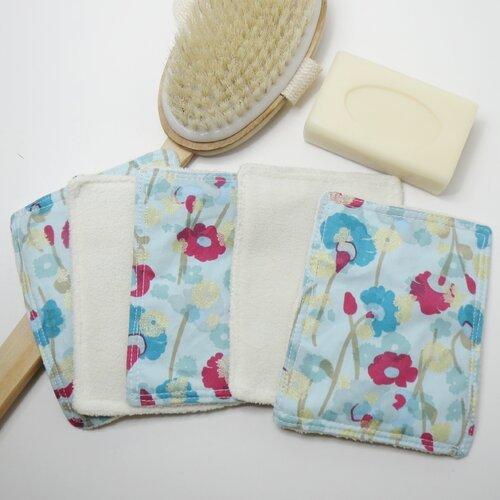 Lingettes lavables, cotons démaquillants lavables (lot de 5) en coton/ micro polaire,écologiques réutilisables bleues ,lingettes bébé